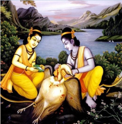 Jatayu With Rama And Lakshmana